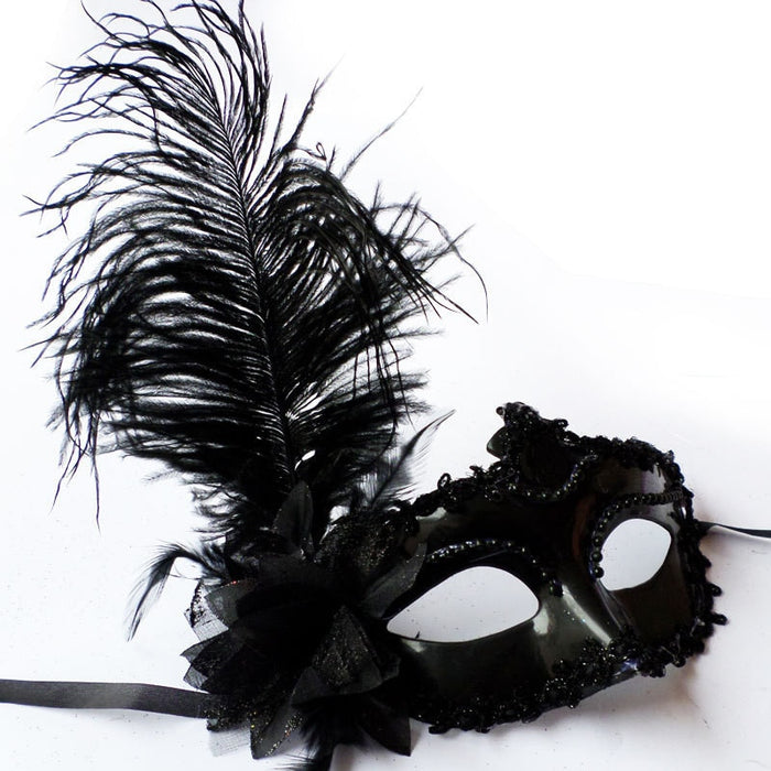 Masquerade Feather Mask 2018 Women Black Lace Eye Face Mask Masquerade Party Ball Prom Halloween Costume Party Masks drop ship