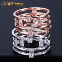 CWWZircons Multi Layer Geometric Cubic Zirconia Rose Gold Color Fashion