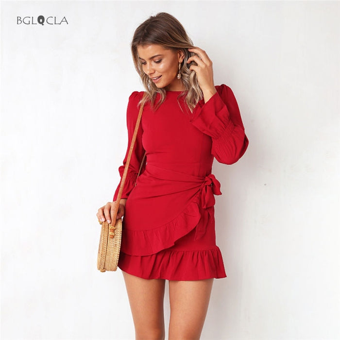 Autumn Dresses Women Vintage Casual Bodycon Dress with Smell Chiffon Ladies