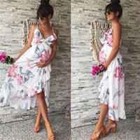 Summer women elegant dress Mother Casual Floral Falbala Pregnant White