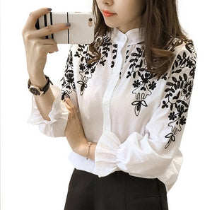 Clothing Embroidery Blouse Shirt Cotton Korean Flower Embroidered Tops Korean Style Fresh shirt
