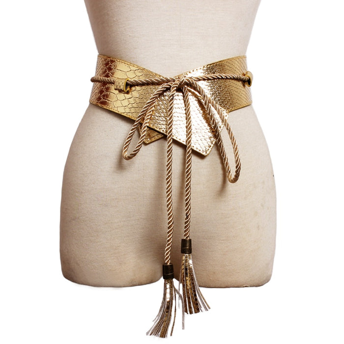 Hot Fashion brand desgin wide Leather Belts for women dress female long tassel strap Gold casual waistband Woman High quality