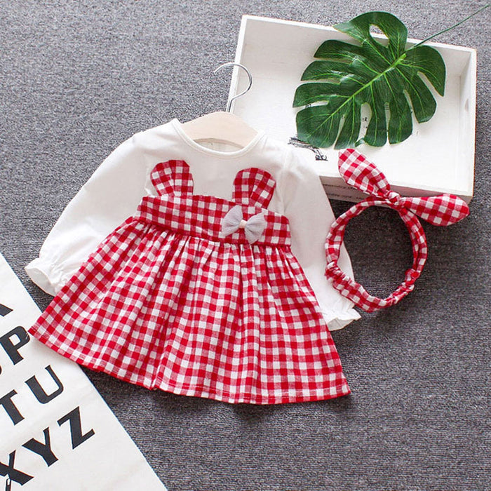 Spring Baby girls clothes overalls dress Headband for newborn babies 1st birthday baby dresses girls long sleeve clothing dress