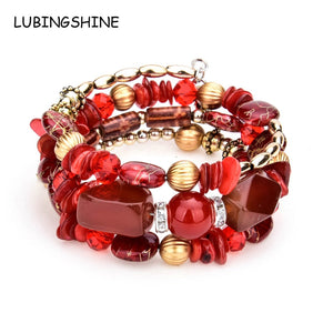 LUBINGSHINE Femme Boho Multilayer Beads Charm Bracelets for Women