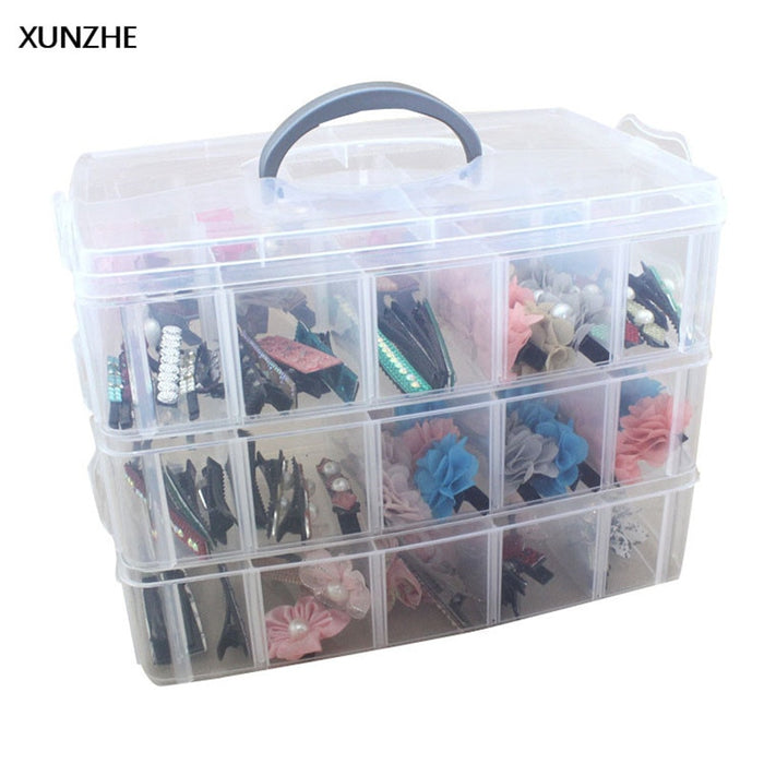 XUNZHE 1PC Transparent Plastic Storage Box 3 Layer Detachable Finishing Box Multi - Function Jewelry Screws Sundries Organizers