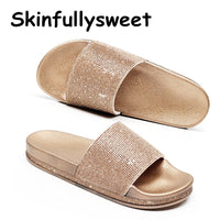 Big Size Crystal Diamond Slippers Summer Women Slippers Bling Beach