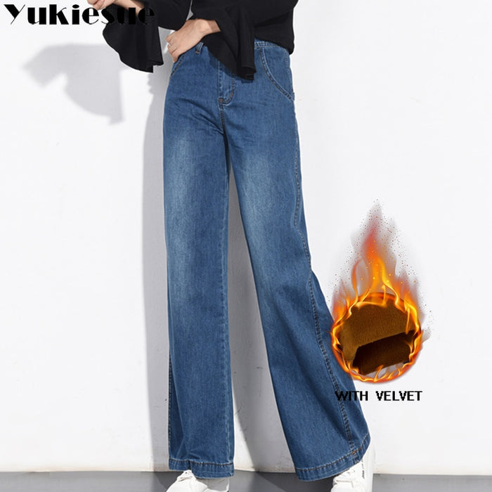 Vintage jeans for women trousers winter warm fleece loose wide leg women's jeans femme large sizes straight pants high waist