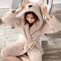 Winter Cute Warm Bathrobes Women Cartoon Bear Rabbit Knee-Length Bath Robe Dressing Plus Size Soft Gown Bridesmaid Robes Female