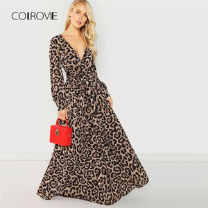 COLROVIE Knot Belted Deep V Neck Leopard Print Sexy Dress Women 2018 Autumn