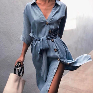 Casual Denim Shirt Dress Autumn England Style Turn-down Collar Dresses