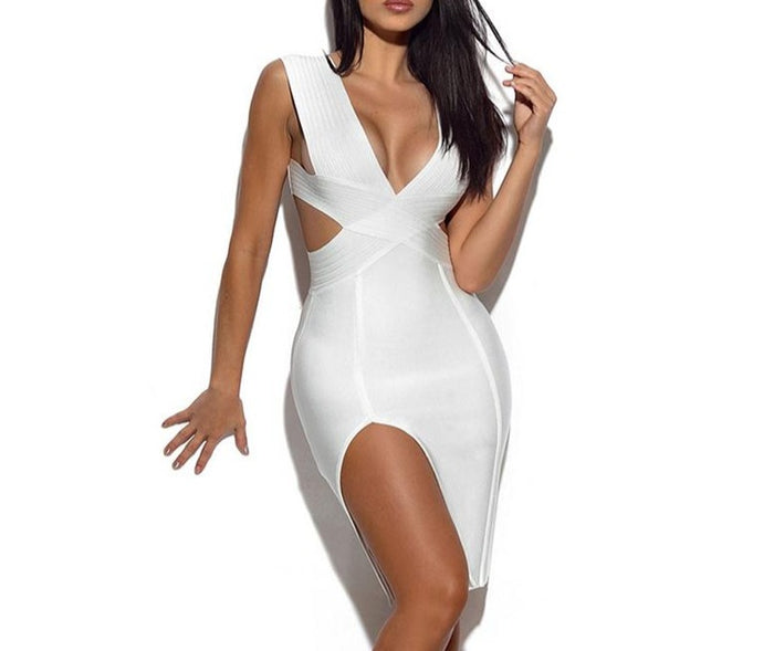 Women Summer Sleeveless Knitted Sexy Deep V Plunge Hollow Out Side Slit