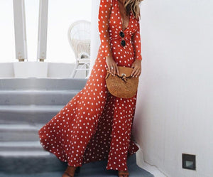 KANCOOLD Dress Fashion Women Polka Dot Boho Long Party Empire Sundress Long Sleeve Beach Fashion dress women 2018AUG3