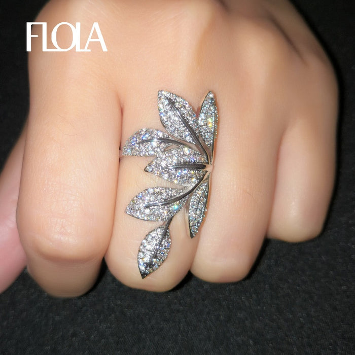 FLOLA Delicate Silver Leaf Ring For Woman Micro Inlayed Cubic Zirconia Present