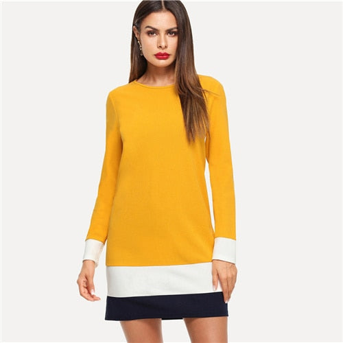 Ginger Color Block Tunic Dress Women Autumn Clothes Long Sleeve Shift Dresses 2018