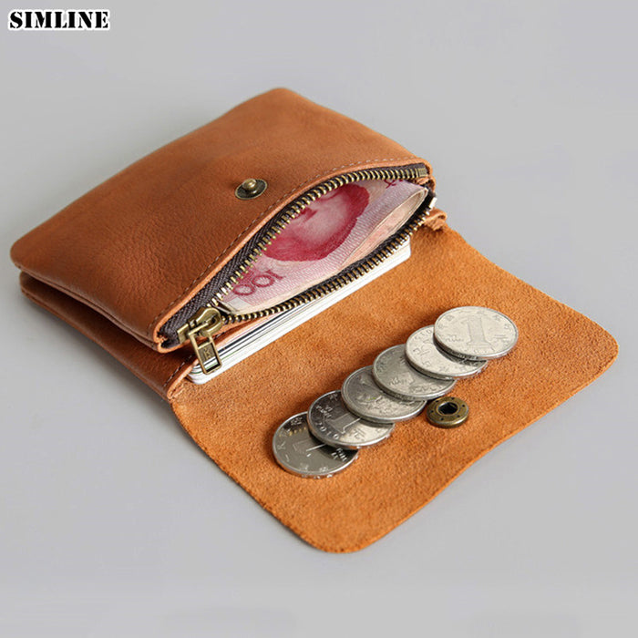SIMLINE Genuine Leather Men Wallet Men's Women Vintage Short Small Mini Wallets Coin Purse Card Holder Zipper Pocket Carteira