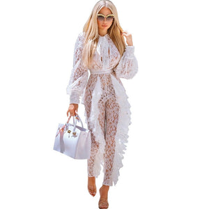 Sheer Long Sleeve White Lace Jumpsuit for Women Sexy See Through Floral