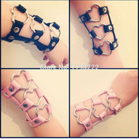 Fashion Jewelry Sexy Kawaii Harajuku Handmade Harness Faux Leather Punk Rock Heart Hand Cuff Harness Bangle Bracelets