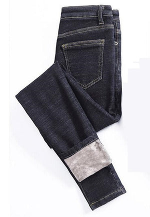Plus Velvet Thick Jeans For Women Winter Small Feet Stretch Jeans Female High Waist Tight Skinny Pencil Warm Trousers