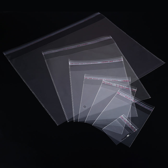200pcs 4 Sizes Transparent Self Adhesive Sealed Opp Plastic Pouch Sachet Gift Bag For Jewelry Wedding Party Beads Packing Supply