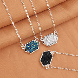 14 Colors Druzy Drusy Necklace Fashion Oval Resin Faux Stone Necklace Gold Silver Plated Brand Jewelry