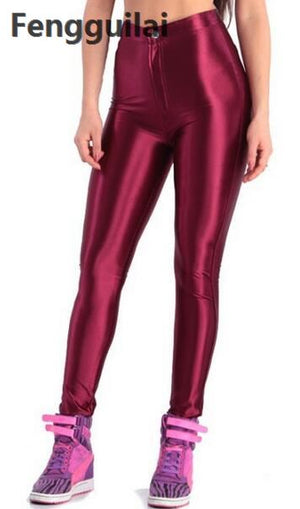 2018 American Style Pencil Pants Shiny Disco Pants High Waist Women 'S Trousers