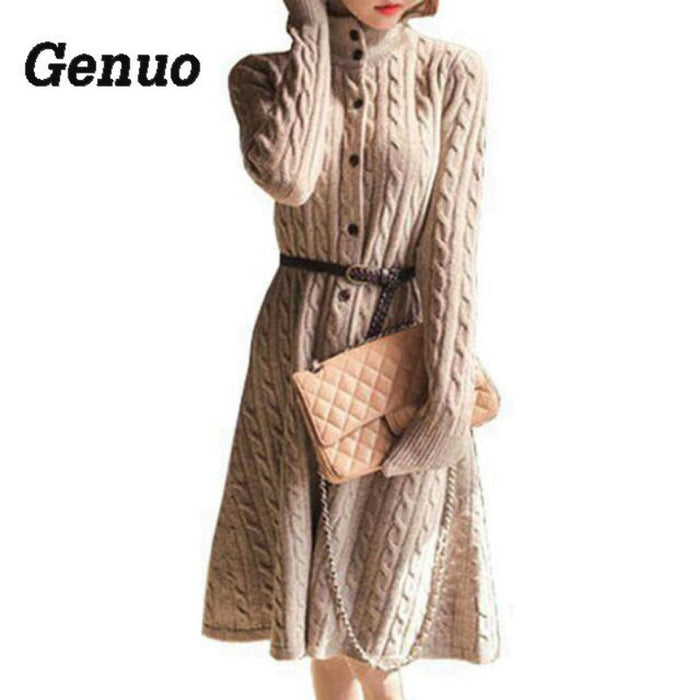Long Sweater Dress Genuo 2018 Fall Winter Fashion Plus Size Cable Vintage Single-breasted Knee-length Belt Knitted Maxi Dress