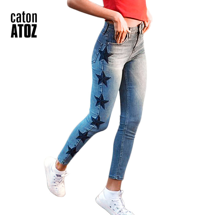 catonATOZ 2142 New Women's Vintage Star Embroidery Jeans Stretch Denim Pants Female Skinny Trousers For Women