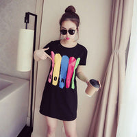 Summer O-Neck Long T-Shirt Dress Women Letter Print Dresses Short Sleeve