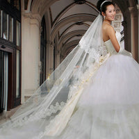 Women Wedding Veil With Comb Long 3M Lace Edge Bridal Cathedral Bridal Veil