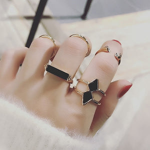Gold & Silver Color Arrow Rings Set for Women Fashion