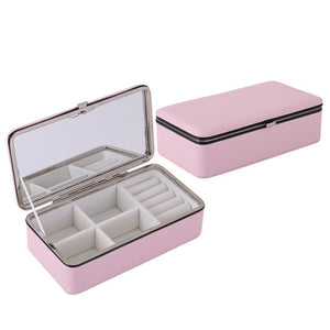 Portable Korean Jewelry Box Organizer Travels Leather Ring Bracelet Earring Necklace Display Storage Box Case with Makeup Mirror