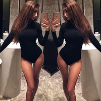 Fashion Woman Autumn Solid Turtleneck Slim Fit Long Sleeve Sexy Women's Tops Skinny Shirts Romper
