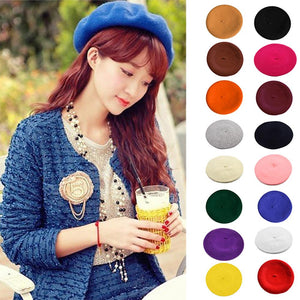 Women's Girl's Beret Ins Hot Type Solid Color French Artist Warm Wool Winter Beanie Hat Cap 16 Colors