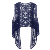 Asymmetric Floral Crochet Knitted Vest Jacket 2018 Summer Autumn Women Retro Sleeveless Cardigan Ladies Embroidery Waistcoat