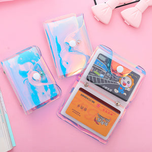 Women Laser Transparent Card Case Men's PVC Credit Business Card Holders Organizer Travel Girl's Passport Cover Wallet Purse Bag