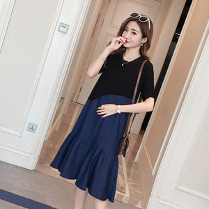 2133# Stylish Denim Patchwork Cotton Maternity Dress Summer Korean Fashion