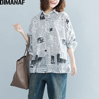 DIMANAF Women Blouse Shirt Female Clothes Plus Size Tops Print Loose Vintage Batwing Sleeve Cardigan Oversized Tunic 2018 Autumn