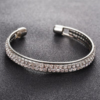 ROMAD 2 Rows Opening Bracelets Women Crystal Rhinestone Bangle Wristband