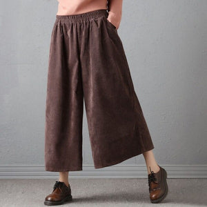 Mferlier Trousers for Women Corduroy Pants Vintage Casual Thicken Women Winter