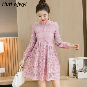 2018 Autumn Winter Vintage Lace Sexy Mini Elegant Dress Party