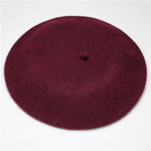 New Fashion  Solid Color Warm Wool Winter thin wool Women Girl Beret French Artist Beanie Hat  Cap For Female CL0053