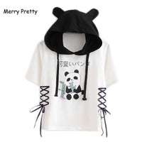 MERRY PRETTY Women Hooded T Shirts 2018 Short Sleeve Lace Up Patchwork Cotton T Shirt For Femme Cartoon Panda Printed  Crop Tops