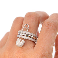 silver rose gold silver color three stack rings safety pin fashion new design