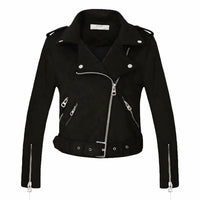 New Arrial Women Autumn Winter Suede Faux Leather Jackets Lady Fashion