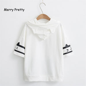 Merry Pretty t shirt women harajuku Japan style kawaii cat tshirt white hooded short sleeve cotton girls tumblr friends tshirts