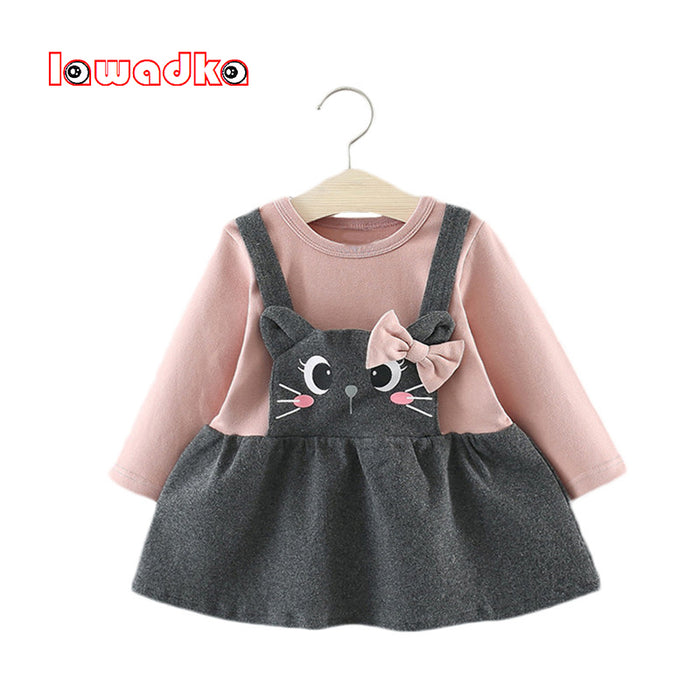 Lawadka Cotton Baby Girl Dress Cartoon Cat Baby Girl Dress 2018 Autumn Baby Dresses Party and Wedding Clothes