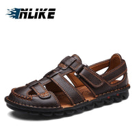 Inlike Brand  Big Size Drop Shipping Mens Sandals Genuine Leather Sandals Outdoor