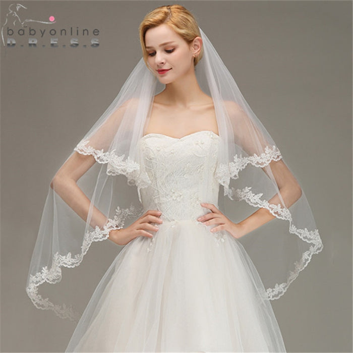 Two Layers Lace Edge White Ivory Short Wedding Veil+Comb Soft