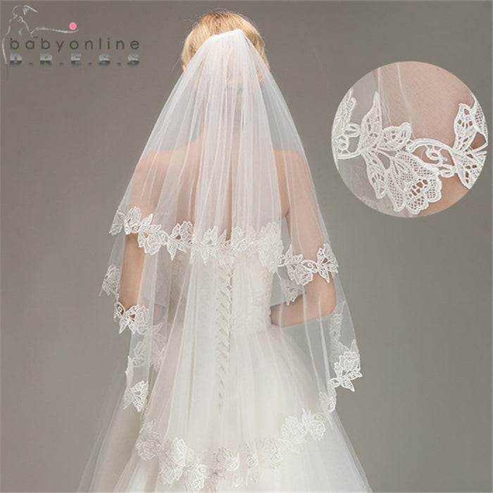 Veu de Noiva Two Layer Lace Edge Short Wedding Veil with Comb Soft