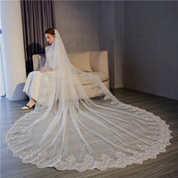 4 Meter White Ivory Cathedral Wedding Veils Long Lace Edge Bridal Veil
